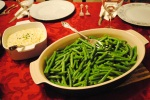Creamed corn and garlicky green beans
