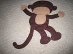 Felt monkey - sans eyes, nose and mouth