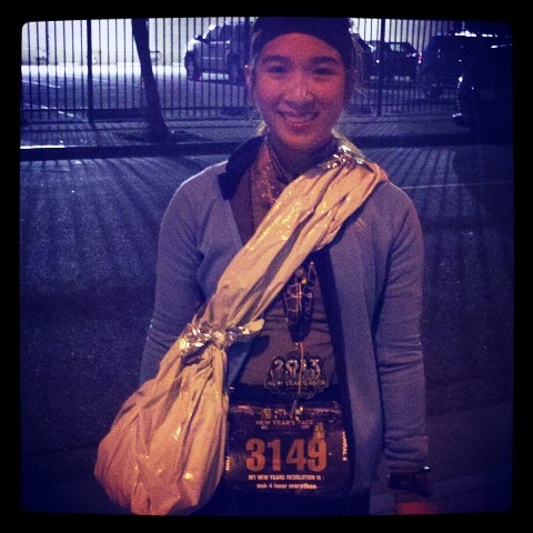 Check out my makeshift duffle made from the post-race mylar blanket! Styling!