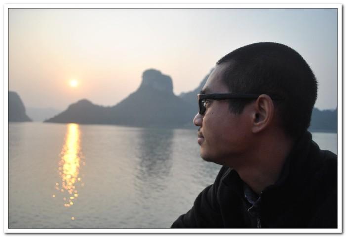 Enjoying the sunset over Ha Long Bay