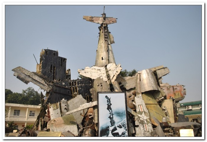 "This ""sculpture"" is made from the parts of downed US planes from the war"