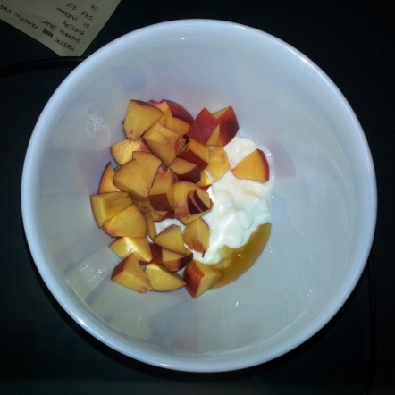 Sunday Snack - cottage cheese, nectarine, honey