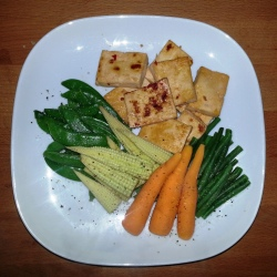Sunday Dinner - pan-seared marinated tofu and steamed veggies (green beans, baby corn, carrots, sugar snap peas)