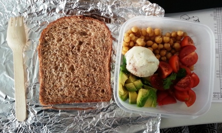 Monday Lunch - chickpeas, avocado, cherry tomatoes, hard boiled egg - whole grain and seed toast