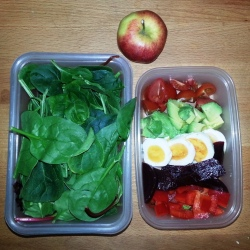 Tuesday Lunch - mixed green salad, hard boiled egg, beets, cherry tomatoes, red bell pepper, avocado - apple