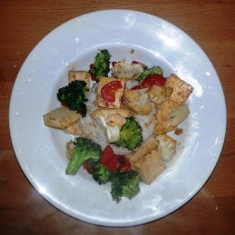 Monday Dinner - stir fry (tofu, broccoli, red bell pepper, cauliflower) and rice