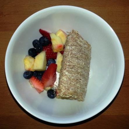 Tue/Wed/Fri Breakfast - shredded wheat, greek yogurt, mixed fruit (blueberries, strawberries, pineapple, banana not shown)