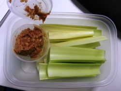 Tuesday Snack - celery and crunchy peanut butter
