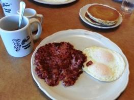 Original Pancake House - corned beef hash, eggs, pancakes