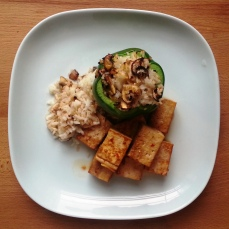 sauteed tofu with rice stuffed green pepper