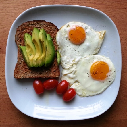 Sunday BRUNCH - fried eggs, toast with avocado, baby plum tomatoes