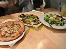 Pitfire Pizza - bbq chicken, brussel sprouts & pancetta, house salad