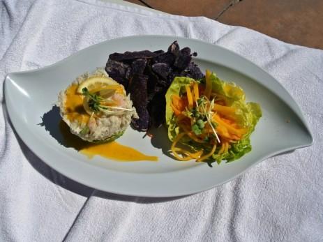 La Costa Resort Spa - crab salad & avocado, terra blue chips, mango salad