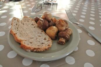Post-hike dinner - sauteed mushrooms in garlic
