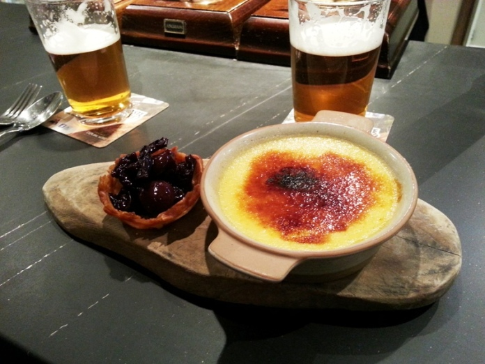 Creme brulee with sour cherries