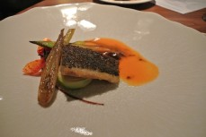 Roasted wild stone bass - shellfish mousse, roasted vegetables, gazpacho sauce