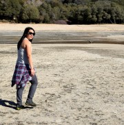 Walking across the lake bed