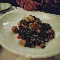 CHITARRA- grilled shrimp & calamari, Borlotti beans, soffritto, tomato conserva, basil, Calabrian chiles